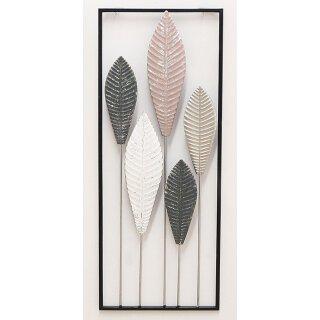 dekoratives modernes Wanddeko Objekt Blätter aus Metall schwarz cremeweiß rosa gold