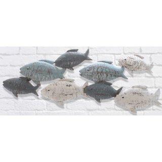 dekorative Wanddeko maritimes Wandobjekt aus Metall Motiv Fische im Schwarm grau-weiß-blau shabby Optik