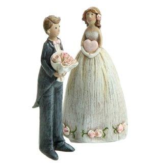 dekorative kleine Dekofiguren als Braut und Bräutigam im 2-er Set