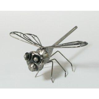 witzige dekorative Dekofigur Libelle silber antikfinish