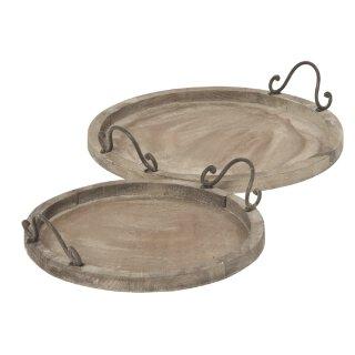 Tablett rund im Landhaus-Stil Holz shabby braun in verschiedenen Größen
