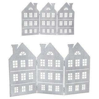 dekorative Silhouette Häuserzeile 3 Häuser als Paravent Metall hellgrau