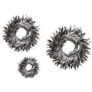 ausgefallener dekorativer Federkranz mit echten Federn in silber-grau