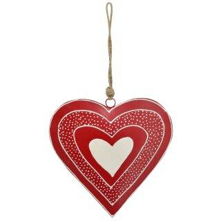 dekorativer Anhänger Herz Metallherz handbemalt rot mit cremefarbenem Muster
