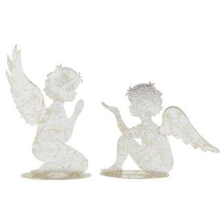 weihnachtlicher Deko Engel sitzend oder knieend als flache Silhouette Metall silber matt-glänzend