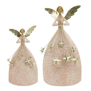 dekorativer ausgefallener Deko Engel mit Sternenregen rosa-weiß mit champagner-gold antike Optik