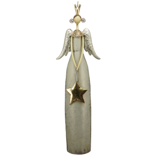 großer dekorativer stimmungsvoller Deko-Engel Metall-Engel mit Krone und Stern creme-grau-gold