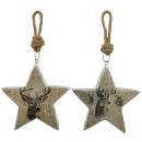 dekorativer Anhänger Stern mit Hirschmotiv aus Holz...