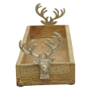 dekorative rechteckige Holzschale mit Hirschkopf-Deko...