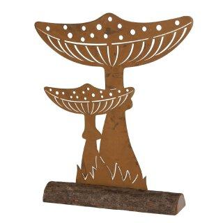 stimmungsvolle dekorative Deko-Pilze als flache Silhouette auf Holzstand Metall edelrost