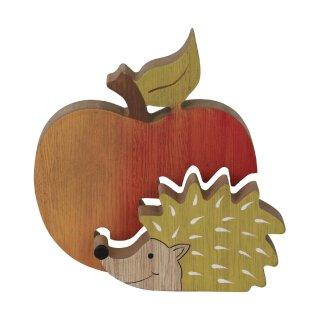 dekoratives herbstliches Deko-Objekt Igel und Apfel Holz bemalt