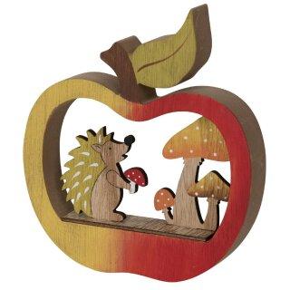 dekoratives herbstliches Deko-Objekt Igel in Apfel mit Pilzen Holz bemalt