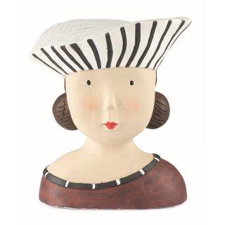 Ladykopf Dekokopf Dame mit schwarz weißem Hut