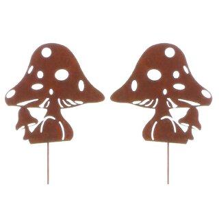 dekorativer Gartenstecker Motiv Pilz aus Metall Edelrost Preis für 2 Stück