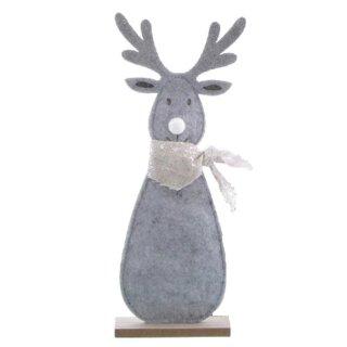 großes weihnachtliches putziges Deko-Rentier als Silhouette aus grauem Filz mit leicht silberfarbigem Halstuch und weißer Plüschnase