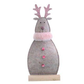 weihnachtliches putziges Deko-Rentier als Silhouette aus braun beigem Filz mit rosa Plüschkragen und pinken Strasssteinen