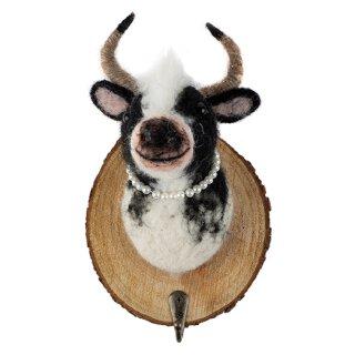 dekorative Wand-Deko Kleiderhaken Wand-Haken Holzplatte mit Kuh gefilzt mit Perlenkette