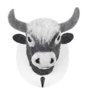 dekorative Wand-Deko Kleiderhaken Wand-Haken Holzplatte mit Kuh grau gefilzt gross
