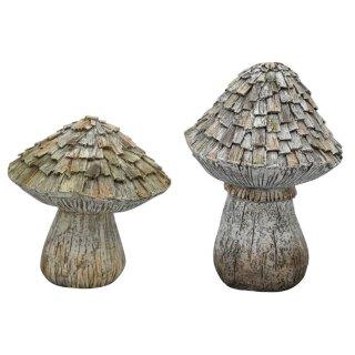dekorativer klassischer Deko-Pilz aus Polyresin in gemasertem Naturholzlook