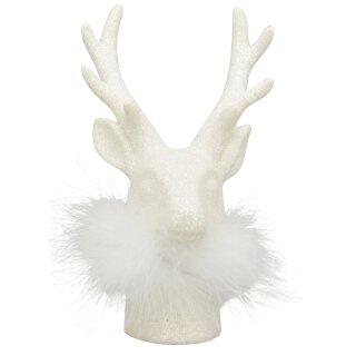 dekorative winterliche Tischdeko Hirschkopf weiß mit Federkragen und weißem Glitzer