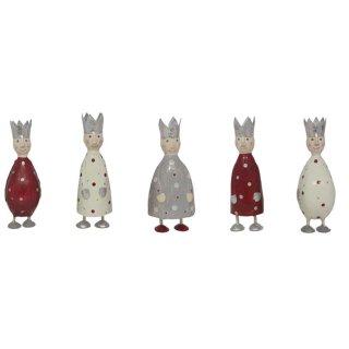 putzige kleine Dekofigur König zum stellen in hellgrau-creme-weinrot mit silberner Krone aus Metall hergestellt in Handarbeit