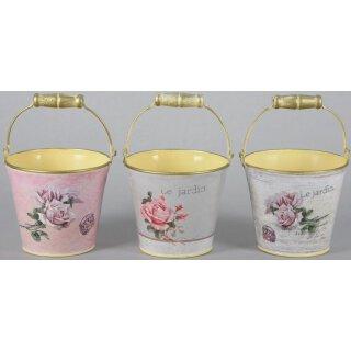 dekorativer und nostalgischer Blumen-Übertopf mit Rosen-Motiv Preis für 3 Stück