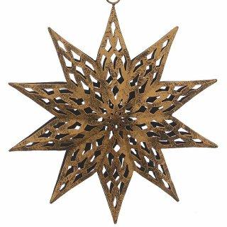 großer Anhänger Stern Metall ausgestanztes Muster