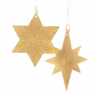 dekorativer Anhänger Stern in 2 Formen Metall goldfarben mit geriffelter Oberfläche Preis für 2-er Set
