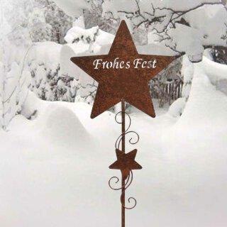 dekorativer und stimmungsvoller Garten-Stecker Deko-Stecker Stern Frohes Fest Metall Rostoptik