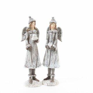 dekorativer stimmungsvoller Deko-Engel grau-weiß im Wintermantel Preis für 2 Stück