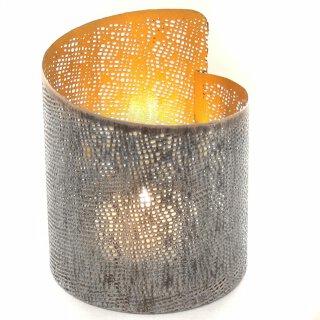 Teelichthalter Metall mit ausgestanztem Muster