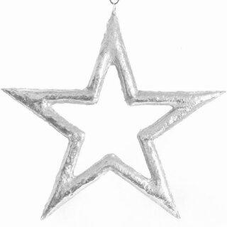 großer dekorativer Anhänger Stern als Silhouette Metall silber glänzend unebene Oberfläche