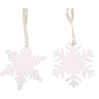 dekorativer Baum-Anhänger Schneeflocke Porzellan cremeweiß Preis für 2- er Set