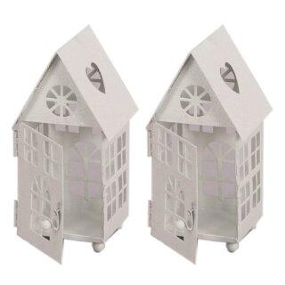 kleine dekorative Windlicht-Laterne Haus Metall weiß Preis für 2 Stück