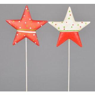 weihnachtlicher stimmungsvoller Garten-Stecker Dekostern Weihnachtsstern Metall rot-weiß-grün Preis für 2 Stück