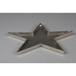 dekorativer Teller in Sternform Aluminium raue Oberfläche