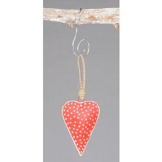 dekorativer Anhänger Herz Metall rot mit weißen Punkten