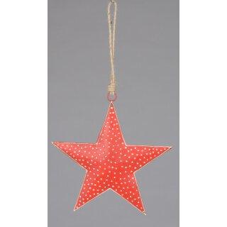 dekorativer Anhänger Stern Sternhänger Metall rot mit weißen Punkten